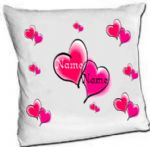 Personalised Hearts Satin Cushion